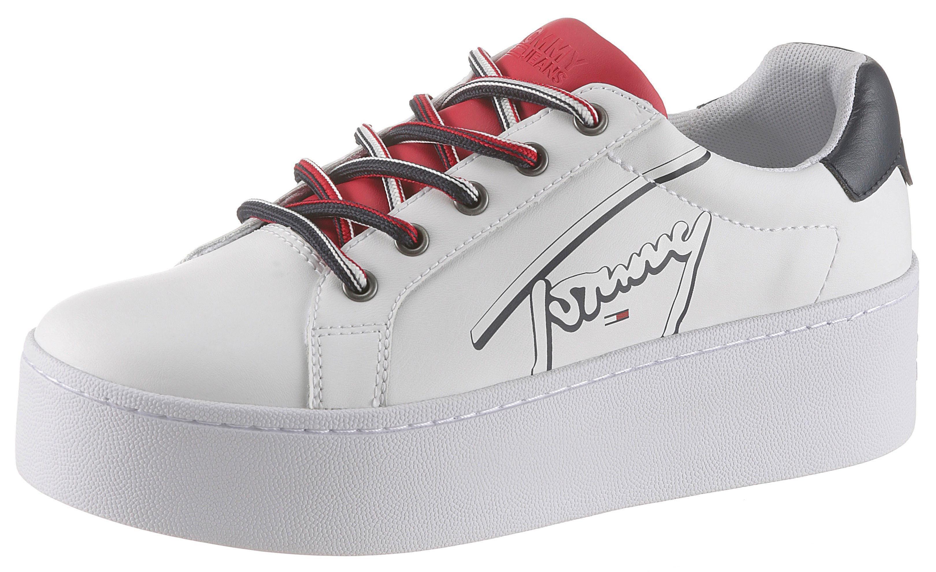 TOMMY HILFIGER *< Schnürsenkel Sneaker ~ rot ~ (ca. 140 cm