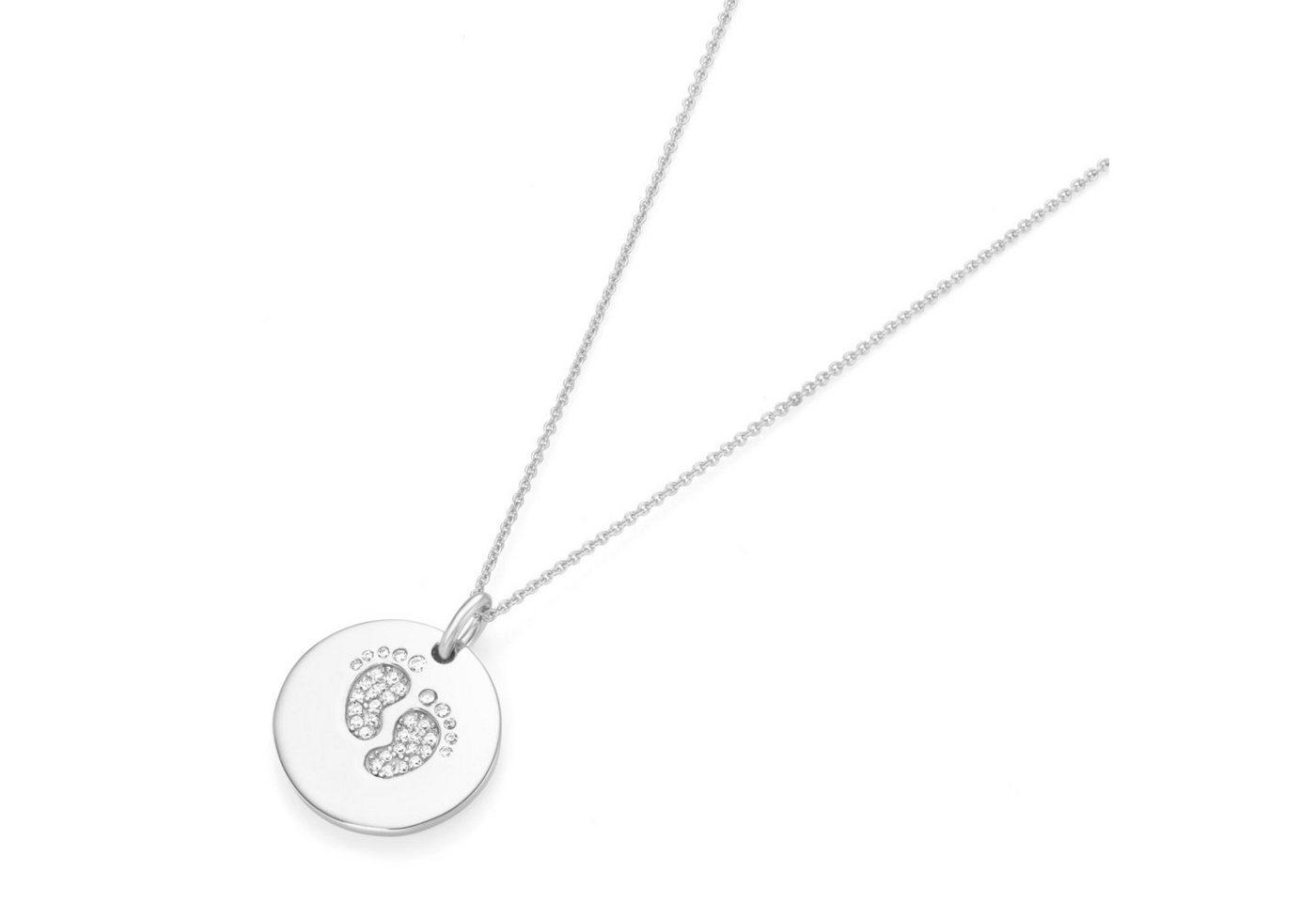 Smart Jewel Kette mit Anhänger mit Gravur »Gravurplättchen mit Zirkoniafüßen«   Schmuck > Halsketten > Ketten mit Gravur   Weiß   Smart Jewel