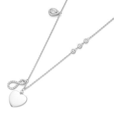 Smart Jewel Herzkette »Herz, Infinity und Zirkonia«