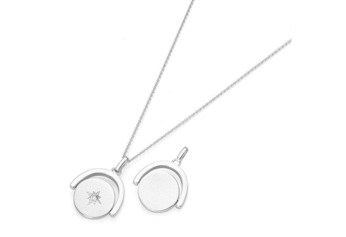 Smart Jewel Kette mit Anhänger mit Gravur »Gravurplatte zum drehen mit Stern und Zirkonia«   Schmuck > Halsketten > Ketten mit Gravur   Weiß   Smart Jewel