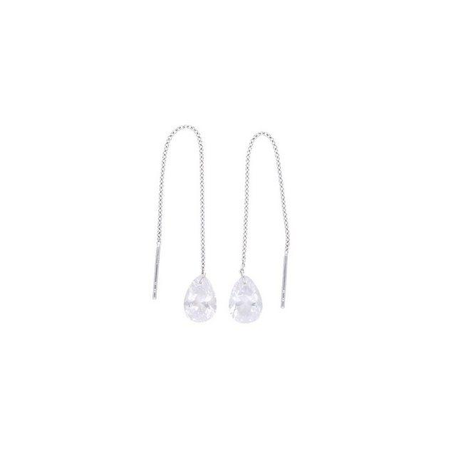 Smart Jewel Paar Ohrhaken »Zum Durchziehen Tropfenform, Zirkonia Steine, Silber 925« | Schmuck > Ohrschmuck & Ohrringe > Ohrhaken | Smart Jewel