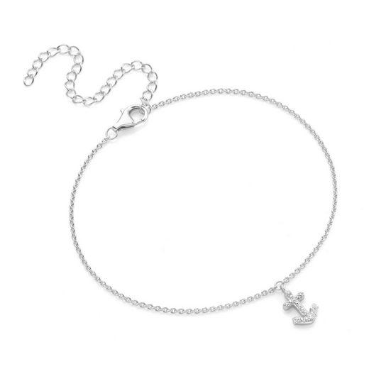 Smart Jewel Fußkette mit Anhänger »maritim mit Anker, Zirkonia Steine, Silber 925«