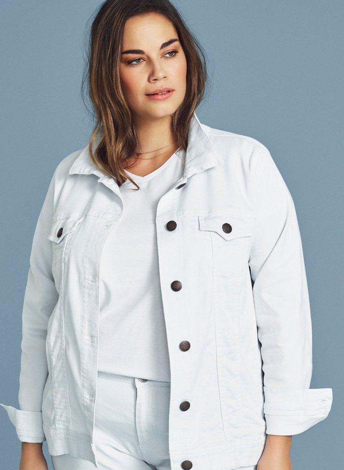 huge selection of 1b547 44ec9 Zizzi Jeansjacke Damen Große Größen Jeansjacke Langarm Cowboyjacke Weiße  Jacke online kaufen | OTTO