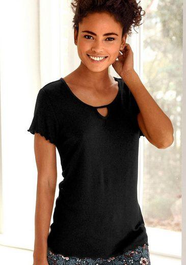 s.Oliver T-Shirt aus geripptem Stoff mit Kräuselsäumen