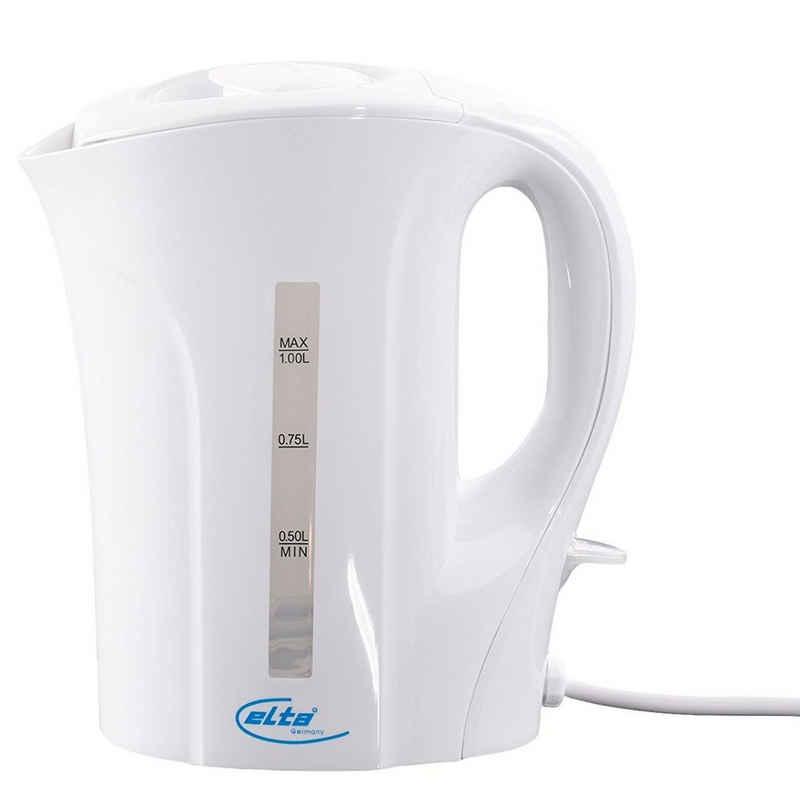 Elta Wasserkocher WK-1000, 1 l, 1000 W, Teekocher Wasser Tee weiß