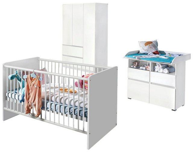Babyzimmer - Babyzimmer Komplettset »Ahlbeck«, (3 tlg) Bett Wickelkommode 3 trg. Schrank  - Onlineshop OTTO