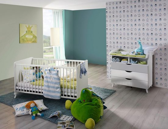 babym bel set danzig 2 tlg bett wickelkommode. Black Bedroom Furniture Sets. Home Design Ideas