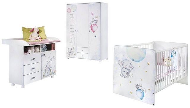 Babyzimmer - Babyzimmer Komplettset »Vancouver«, (3 tlg) Bett Wickelkommode 3 trg. Schrank  - Onlineshop OTTO
