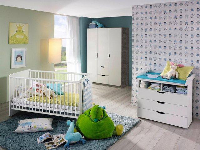 Babyzimmer - Babyzimmer Komplettset »Bristol«, (3 tlg) Bett Wickelkommode 3 trg. Schrank  - Onlineshop OTTO