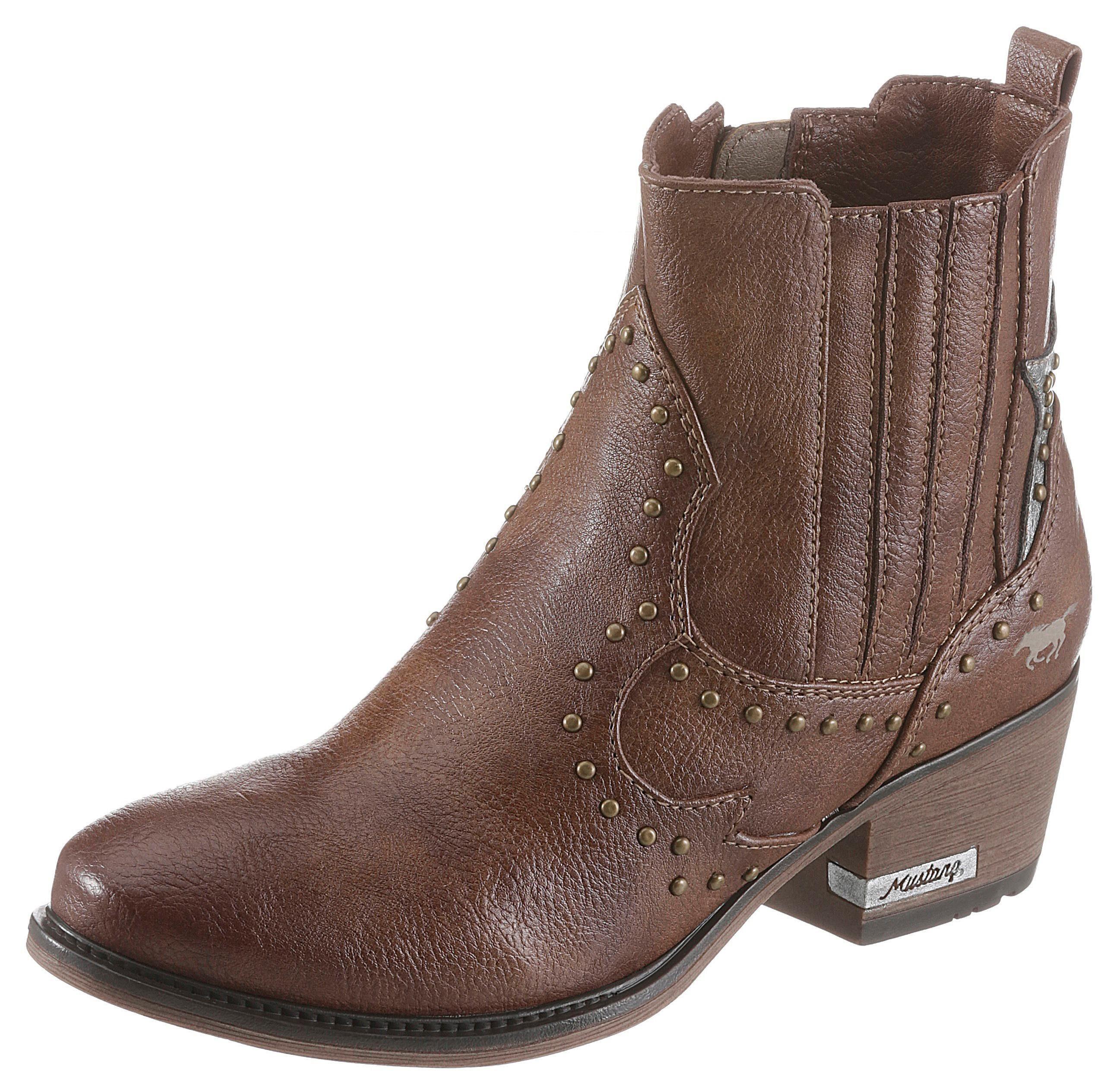 Nieten Online Mustang Mit Shoes Verziert Glänzenden KaufenOtto Cowboy Stiefelette PuTkXZiO
