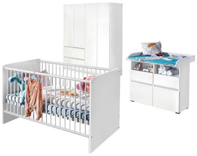 Babyzimmer - Babyzimmer Komplettset »Ahlbeck«, (3 tlg) Bett Wickelkommode 4 trg. Schrank  - Onlineshop OTTO