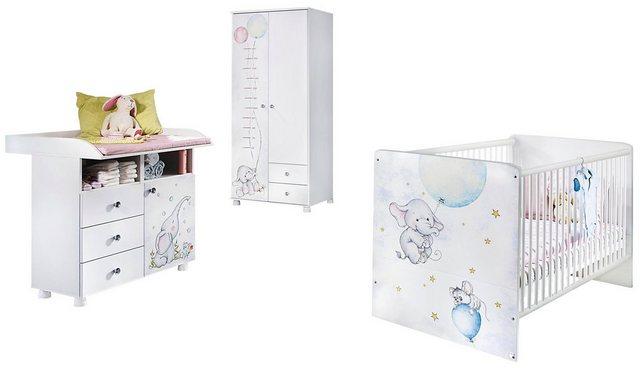 Babyzimmer - Babyzimmer Komplettset »Vancouver«, (3 tlg) Bett Wickelkommode 2 trg. Schrank  - Onlineshop OTTO