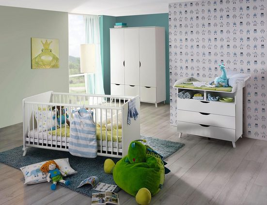 Babyzimmer-Komplettset »Danzig«, (3 tlg) Bett + Wickelkommode + 3 trg. Schrank