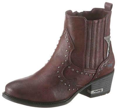 Mustang Shoes Cowboy Stiefelette mit glänzenden Nieten verziert