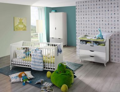Babyzimmer-Komplettset »Danzig«, (3 tlg) Bett + Wickelkommode + 2 trg. Schrank