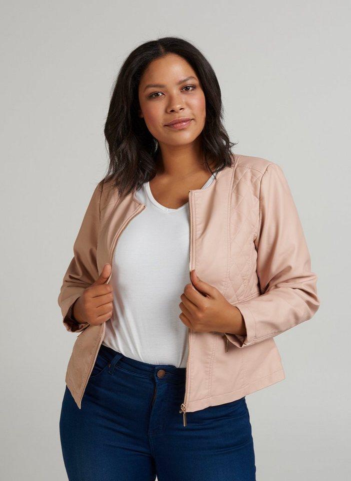 Zizzi Lederimitatjacke Damen Kunstlederjacke Kunstleder Jacket Übergangsjacke Große Größen