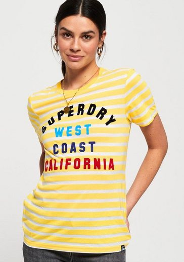 Superdry T-Shirt »WEST COAST STRIPE ENTRY TEE« mit buntem Logodruck