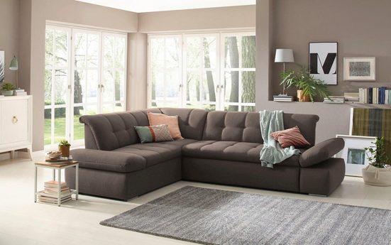 Home affaire Ecksofa »Belle«, wahlweise mit Armlehnenverstellung und Bettfunktion und langem Schenkel rechts oder links