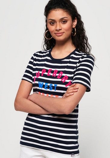 Superdry T-Shirt »WEST COAST STRIPE ENTRY TEE« mit buntem Logodruck
