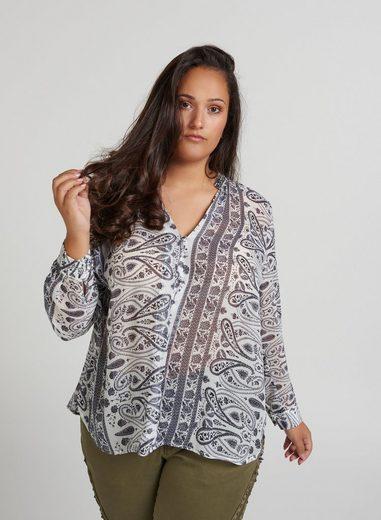 ZAY Chiffonbluse Damen Bluse Paisley Muster Langarm Blusenshirt Chiffon Große Größen