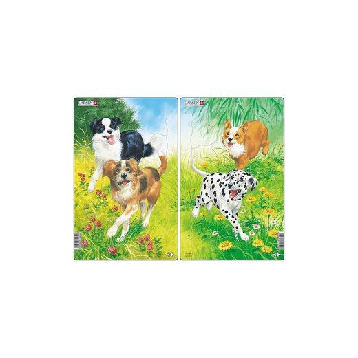 Larsen 2er-Set Rahmen-Puzzle, 10 Teile, 28x18 cm, Hunde
