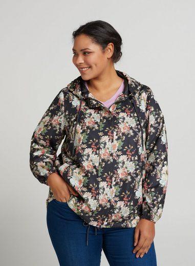 Zizzi Outdoorjacke Damen Jacke Blumenmuster Reißverschluss Frühlingsjacke Große Größen