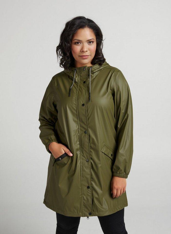 buy online f86ba c08b1 Zizzi Regenjacke Damen Große Größen Regenjacke mit Kapuze Wasserdicht  Regenmantel