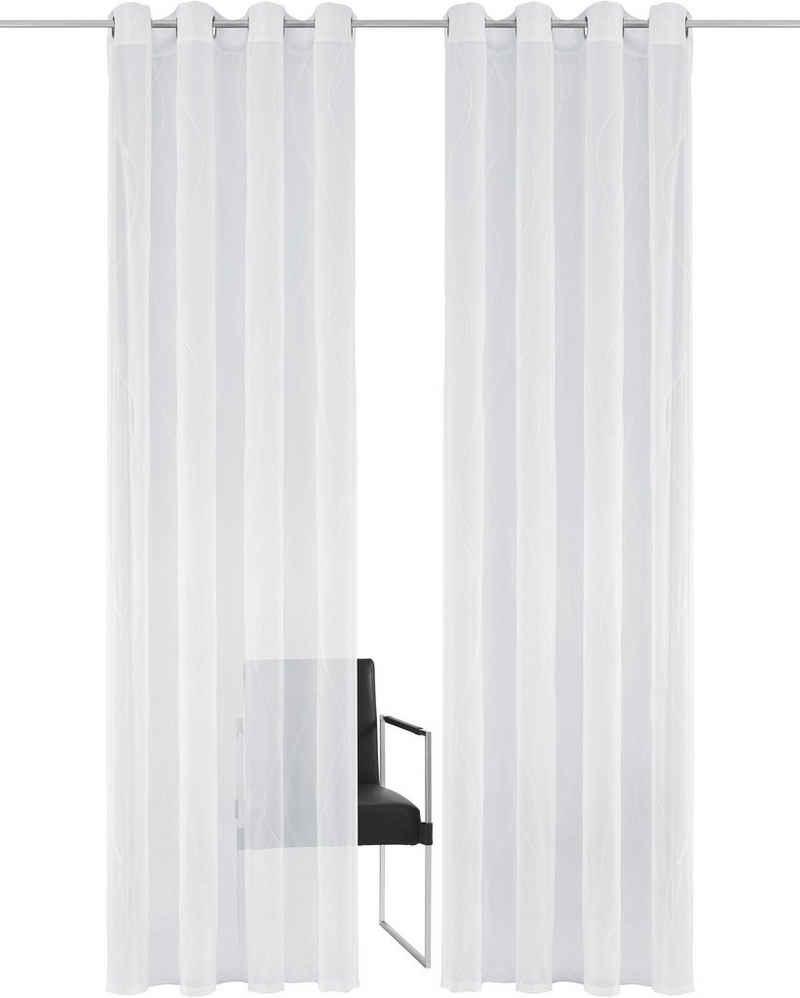 Gardine »Mila«, Guido Maria Kretschmer Home&Living, Ösen (1 Stück), transparent, Wellenmuster, Voile, monochrom democratichome Edition