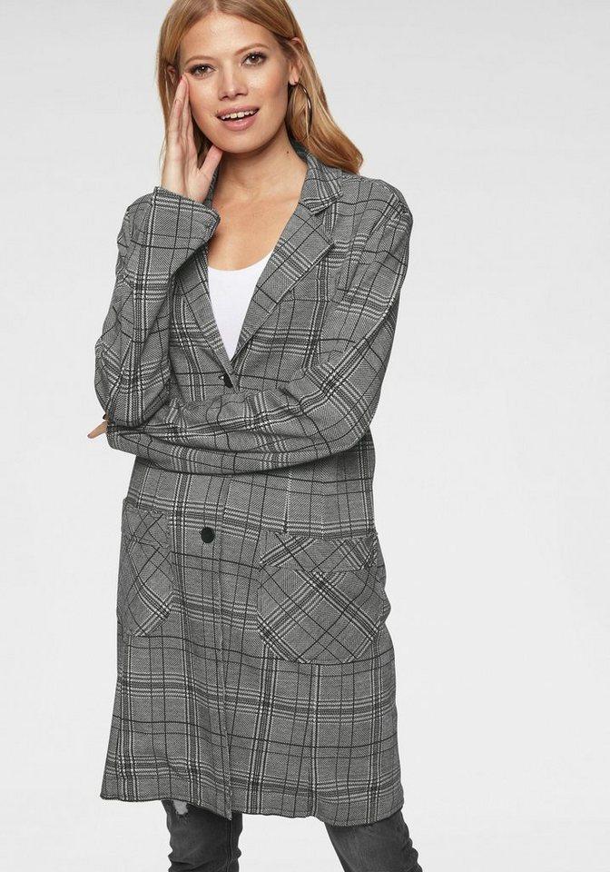 Aniston CASUAL Longblazer im Karo Dessin - NEUE KOLLEKTION | Bekleidung > Blazer > Longblazer | Schwarz | Samt | Aniston CASUAL