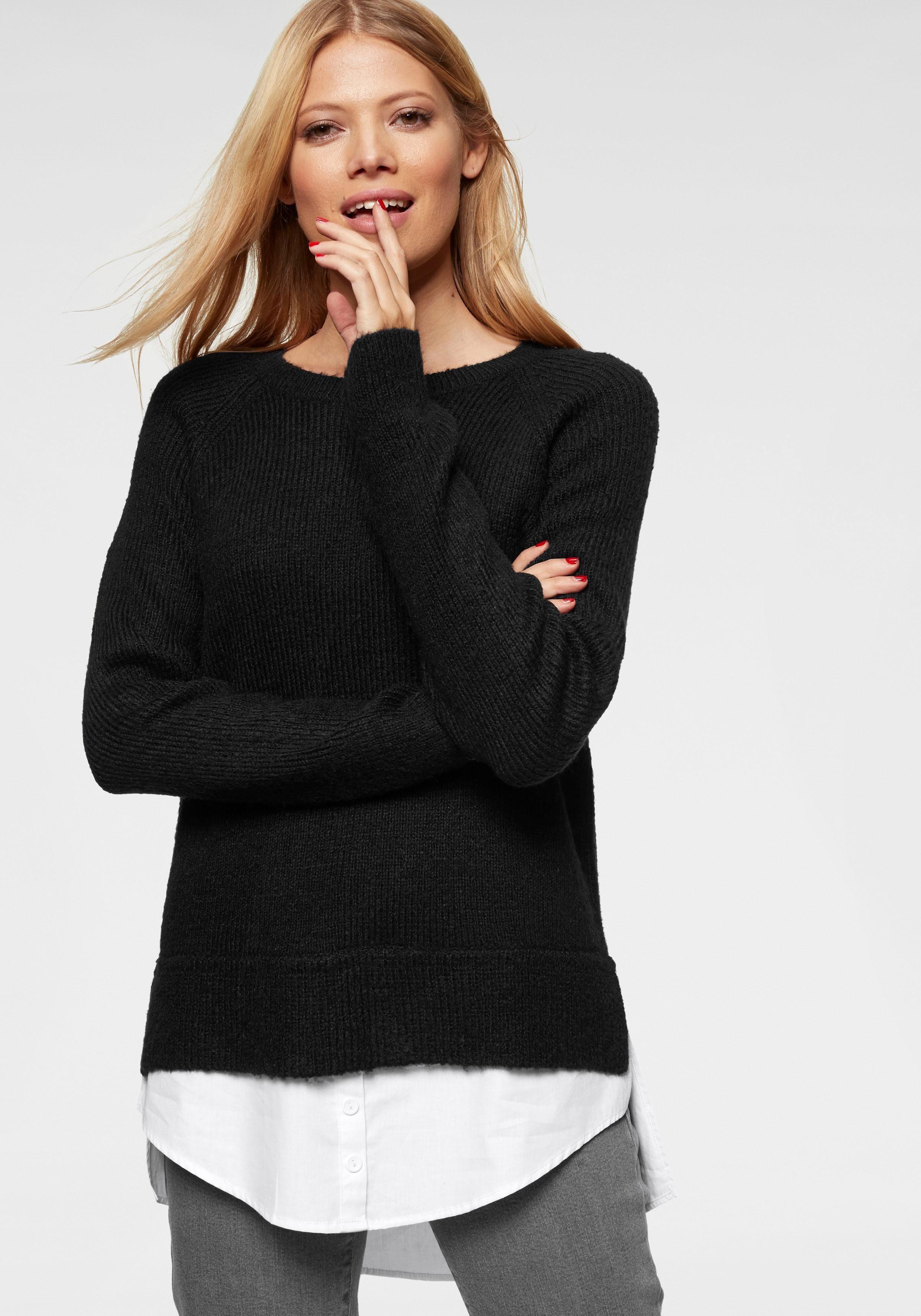 Aniston CASUAL 2 in 1 Pullover mit Blusenansatz am Saum online kaufen | OTTO