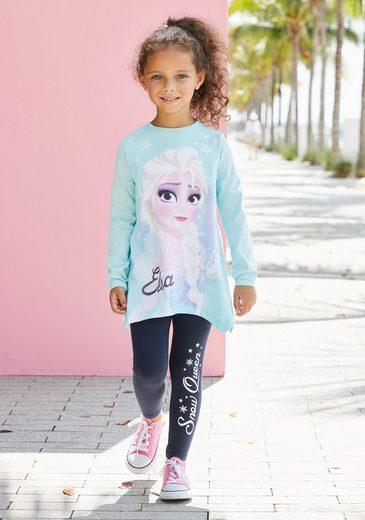 Disney Frozen Langarmshirt & Leggings »Elsa« mit Glitzerdetails