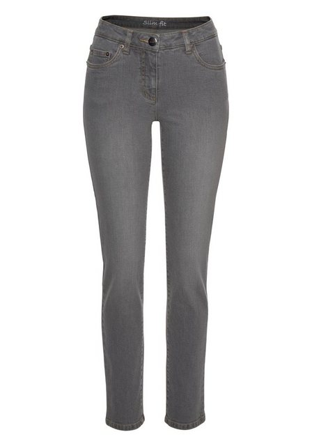 Hosen - Aniston CASUAL Slim fit Jeans »Anja« Regular Waist › grau  - Onlineshop OTTO