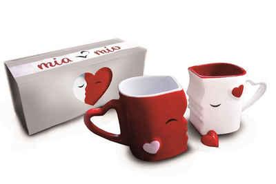 MiaMio Kaffeeservice »Küssende Kaffeetassen Geschenkset (Rot)« (2-tlg), Keramik