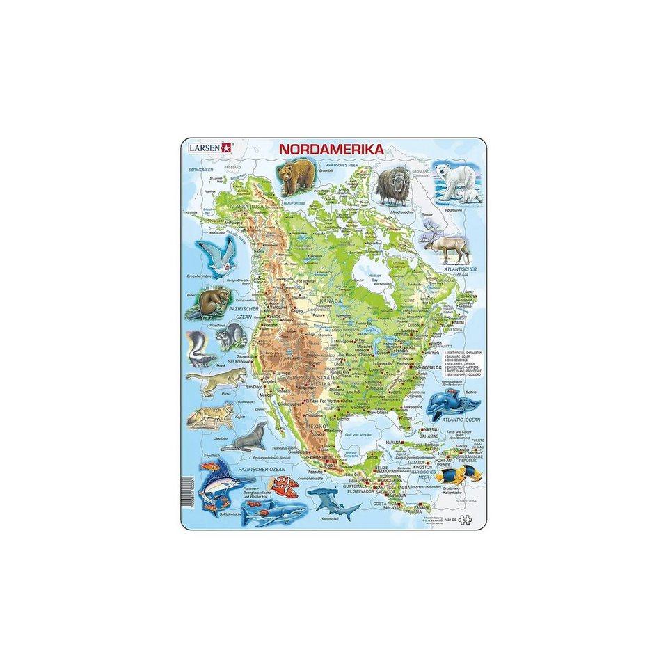 Karte Nordamerikas.Larsen Rahmen Puzzle 66 Teile 36x28 Cm Karte Nordamerika Physis Online Kaufen Otto