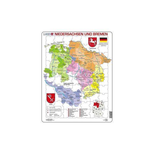Larsen Rahmen-Puzzle, 70 Teile, 36x28 cm, Karte Niedersachsen / Bre