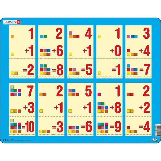 Larsen Rahmen-Puzzle, 10 Teile, 36x28 cm, Erstes Rechnen