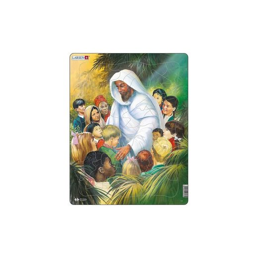 Larsen Rahmen-Puzzle, 32 Teile, 36x28 cm, Jesus mit Kindern
