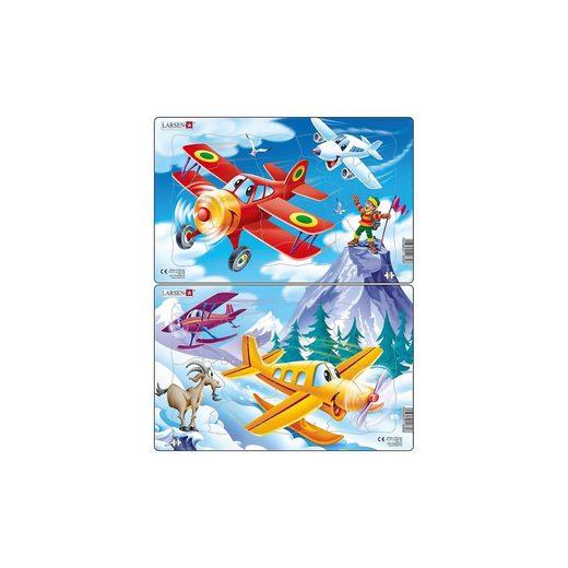 Larsen 2er-Set Rahmen-Puzzle, 13 Teile, 28x18 cm, Flugzeug