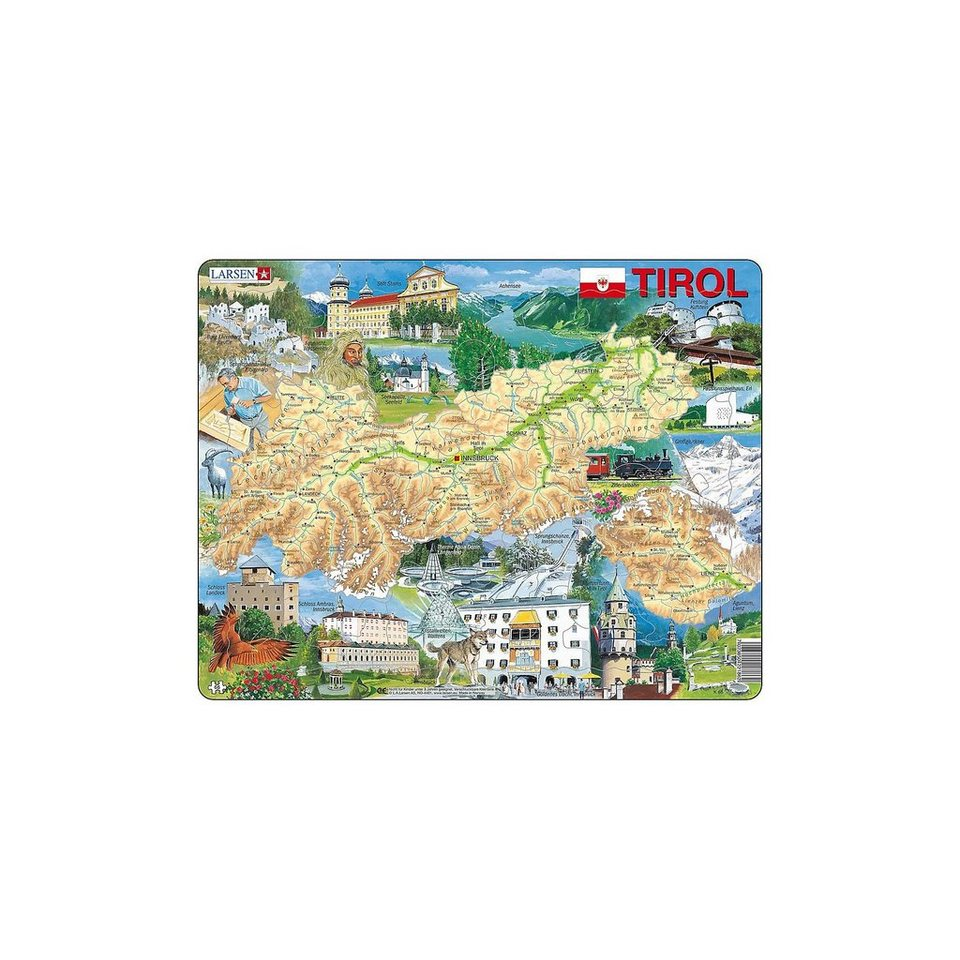 Karte Tirol.Larsen Rahmen Puzzle 66 Teile 36x28 Cm Karte Tirol Physisch Online Kaufen Otto