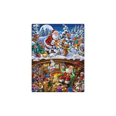 Larsen Weihnachts-Rahmen-Puzzle, 15 Teile, 36x28 cm, Weihnachtsmann