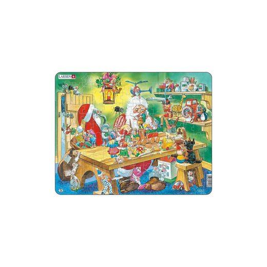 Larsen Weihnachts-Rahmen-Puzzle, 140 Teile, 36x28 cm, Weihnachtsman