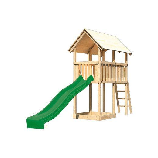 Karibu Spielturm Danny mit Satteldach & Rutsche, grün