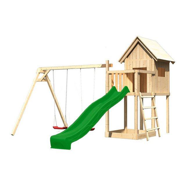 Empfehlung: Spielturm Karibu  Frieda Anbau Satteldach Doppelschaukel  von Karibu*