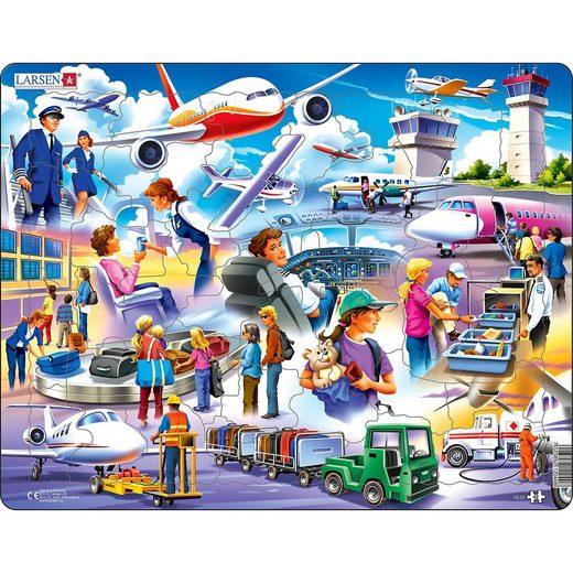 Larsen Rahmen-Puzzle, 42 Teile, 36x28 cm, Flughafen