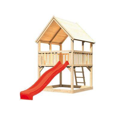 Karibu Spielturm Luis mit Satteldach und Rutsche rot