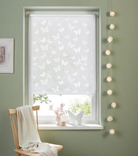 Seitenzugrollo »Schmetterling«, my home, Lichtschutz, ohne Bohren, freihängend, Pigmentdruck