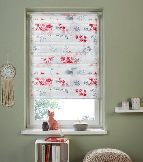 Doppelrollo »Fleur«, my home, Lichtschutz, ohne Bohren, freihängend, im Fixmaß