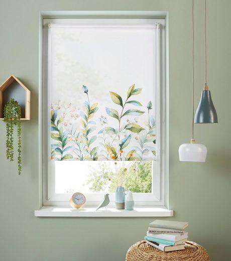 Seitenzugrollo »Pflanze«, my home, Lichtschutz, ohne Bohren, freihängend, im Fixmaß