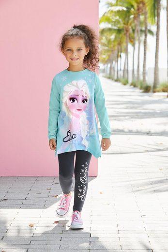 Disney Frozen Langarmshirt & Leggings »Elsa« (2-tlg) mit Eiskönigin Motiv und Glitzerdetails