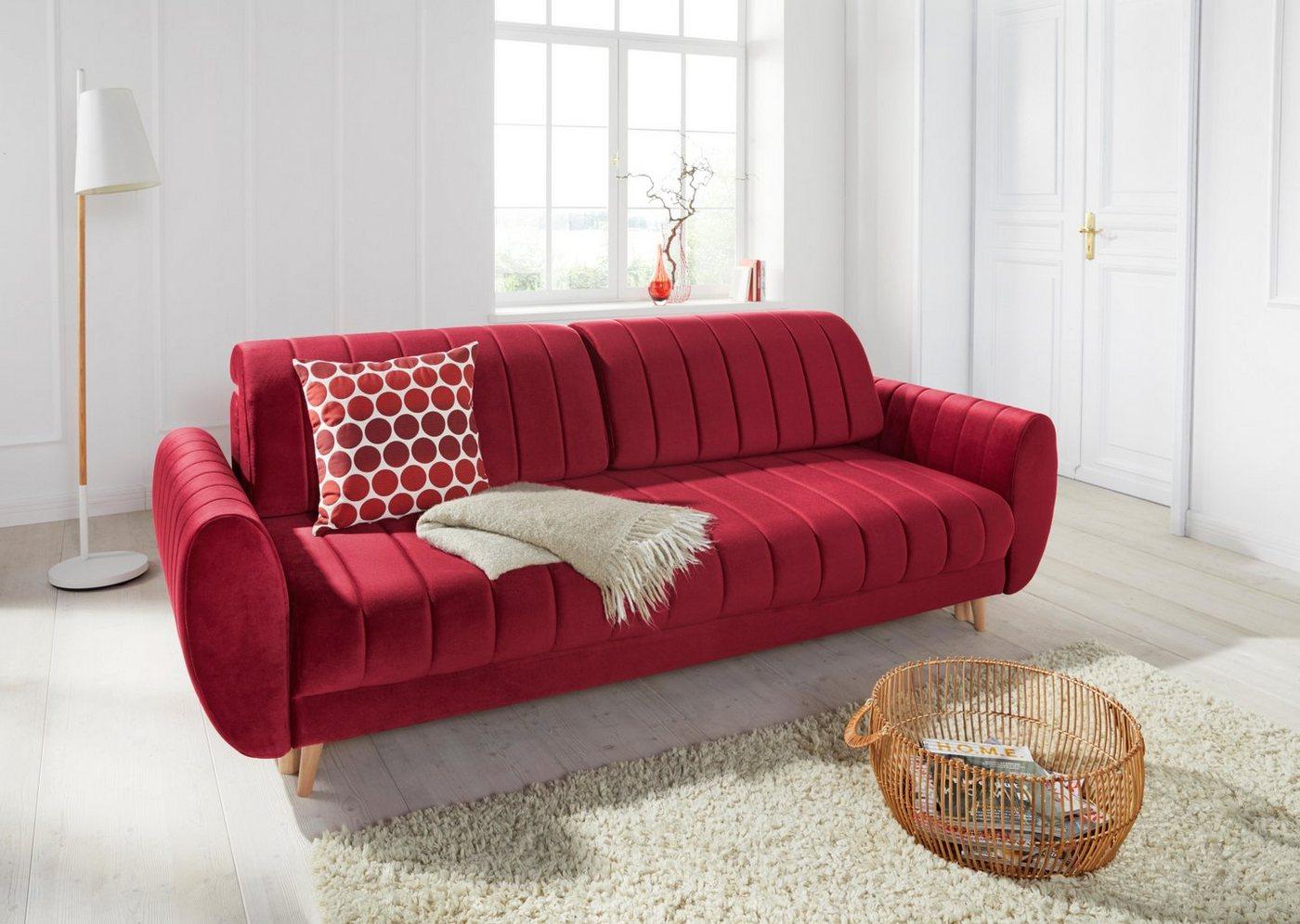 Sofas - andas 3 Sitzer »Bari« mit Bettfunktion und Bettkasten  - Onlineshop OTTO